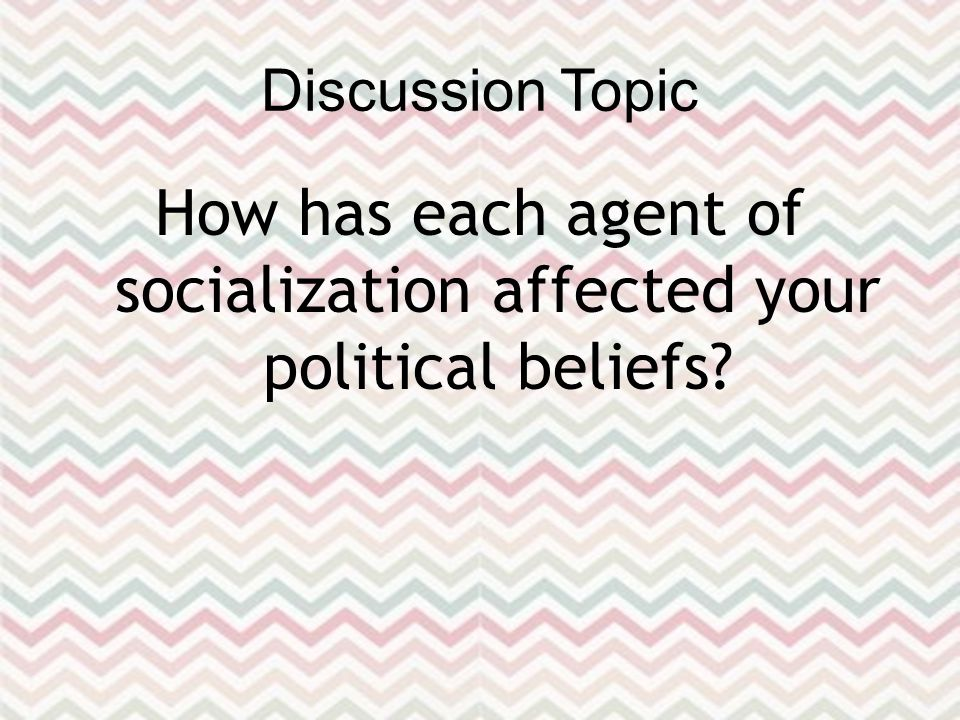 Discussion Topic How has each agent of socialization affected your political beliefs
