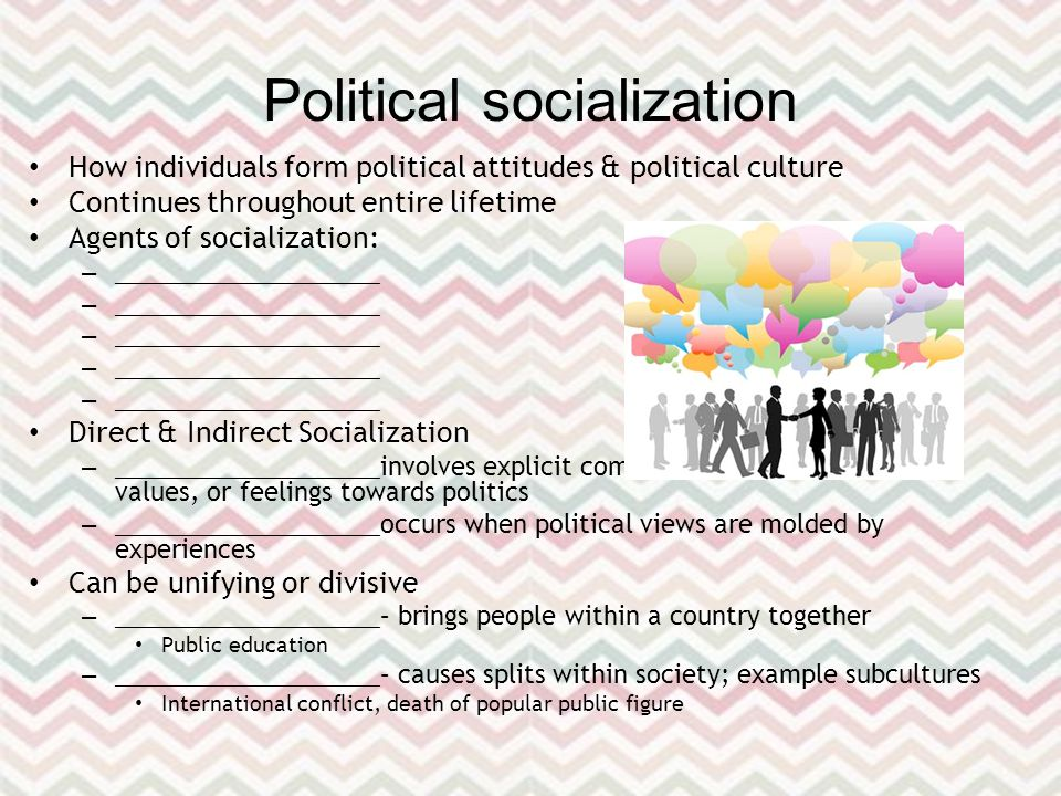 Political socialization How individuals form political attitudes & political culture Continues throughout entire lifetime Agents of socialization: – ____________________ Direct & Indirect Socialization – ____________________ involves explicit communication of information, values, or feelings towards politics – ____________________ occurs when political views are molded by experiences Can be unifying or divisive – ____________________ – brings people within a country together Public education – ____________________ – causes splits within society; example subcultures International conflict, death of popular public figure