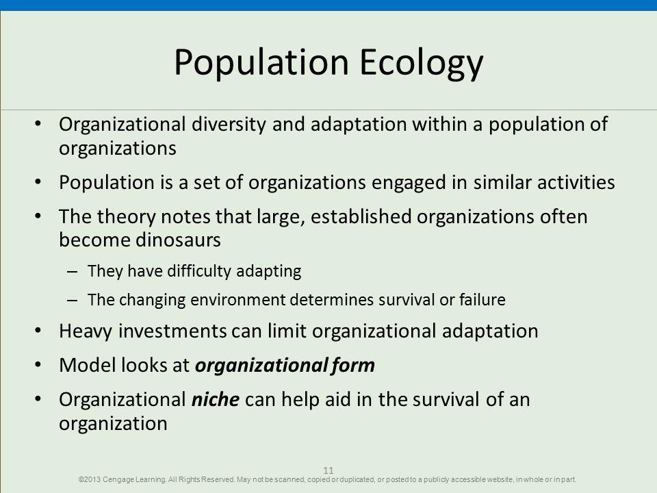 Population Ecology Organizational diversity and adaptation within a population of organizations Population is a set of organizations engaged in simila