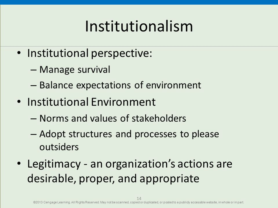 Institutionalism Institutional perspective: – Manage survival – Balance expectations of environment Institutional Environment – Norms and values of st