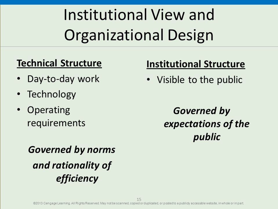 Institutional View and Organizational Design Technical Structure Day-to-day work Technology Operating requirements Governed by norms and rationality o