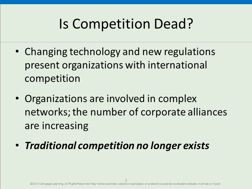 Is Competition Dead? Changing technology and new regulations present organizations with international competition Organizations are involved in comple