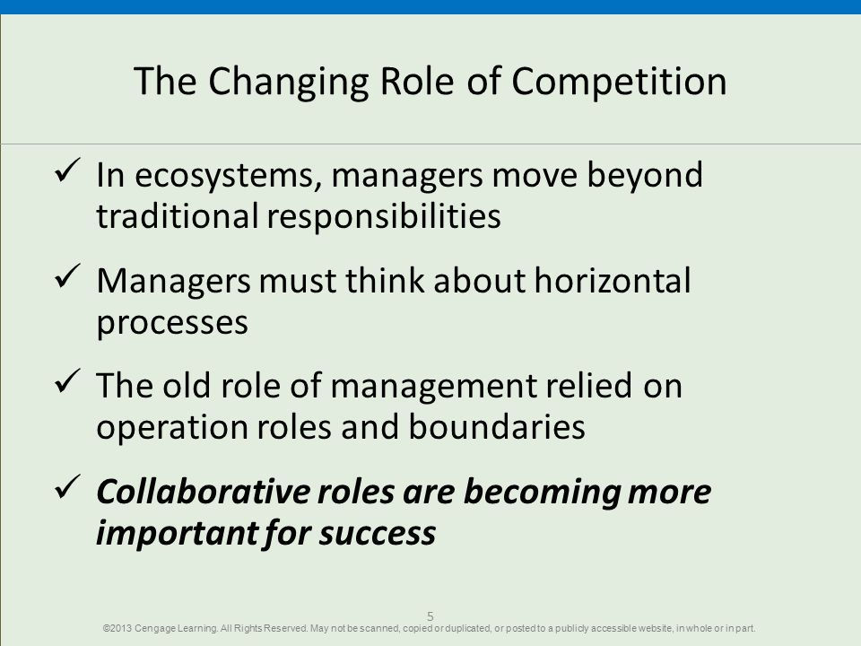 The Changing Role of Competition In ecosystems, managers move beyond traditional responsibilities Managers must think about horizontal processes The o