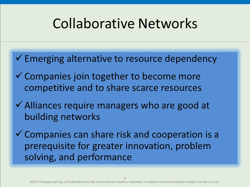 Collaborative Networks Emerging alternative to resource dependency Companies join together to become more competitive and to share scarce resources Al