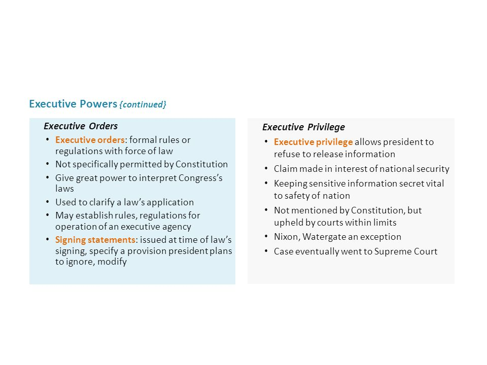 Executive Powers {continued} Executive Privilege Executive privilege allows president to refuse to release information Claim made in interest of natio