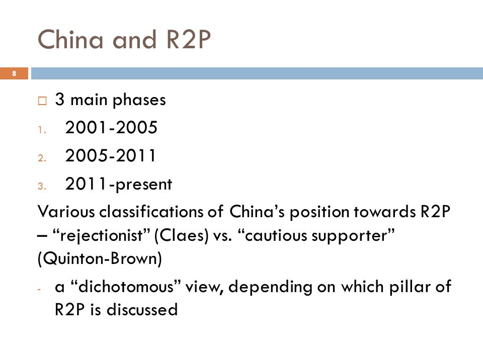 "China and R2P  3 main phases 1. 2001-2005 2. 2005-2011 3. 2011-present Various classifications of China's position towards R2P – ""rejectionist"" (Clae"