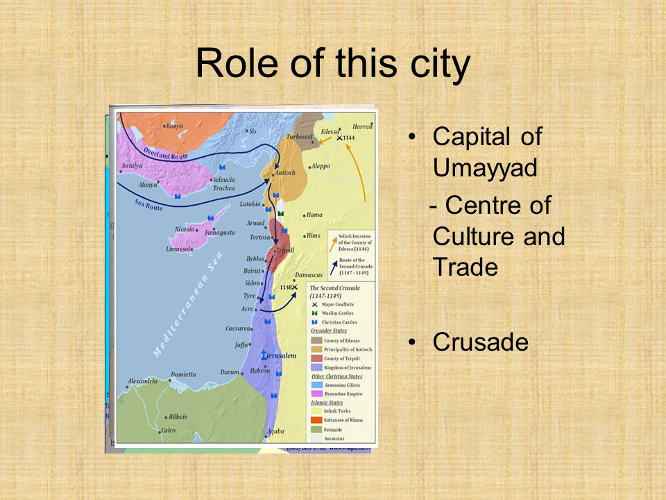 Role of this city Capital of Umayyad - Centre of Culture and Trade Crusade