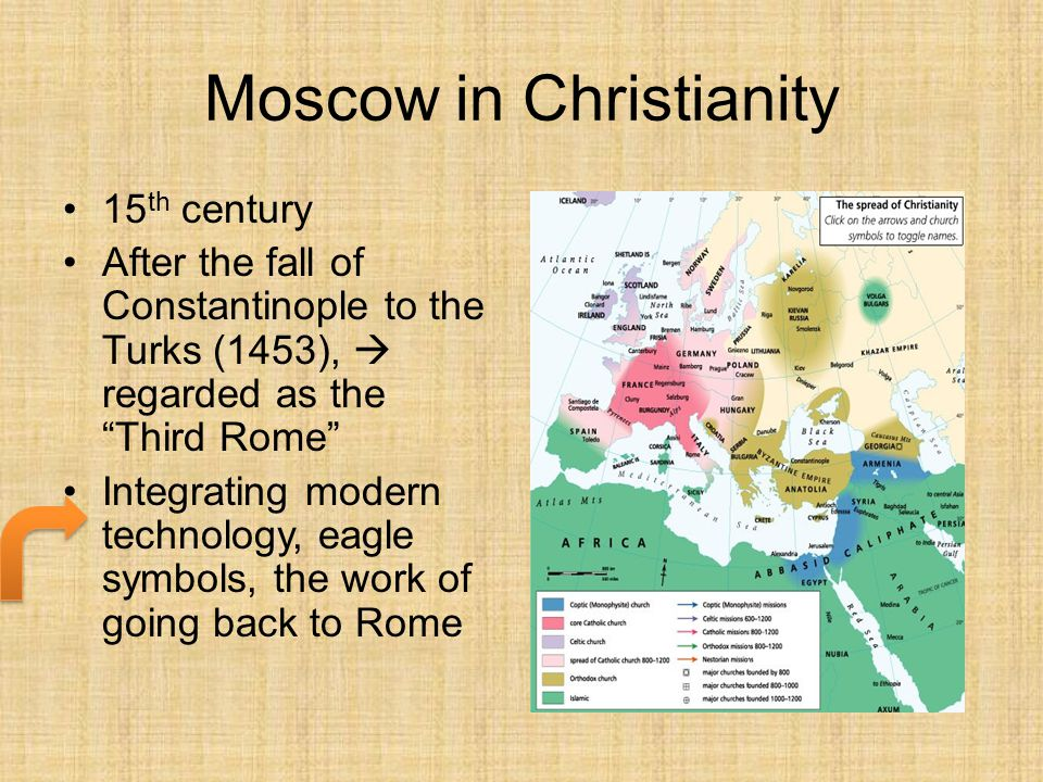 "Moscow in Christianity 15 th century After the fall of Constantinople to the Turks (1453),  regarded as the ""Third Rome"" Integrating modern technolog"