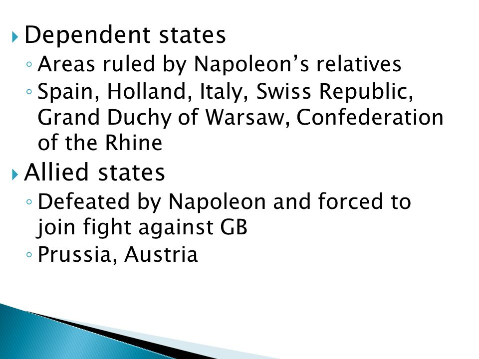  Dependent states ◦ Areas ruled by Napoleon's relatives ◦ Spain, Holland, Italy, Swiss Republic, Grand Duchy of Warsaw, Confederation of the Rhine 