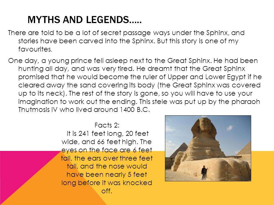 MYTHS AND LEGENDS…..