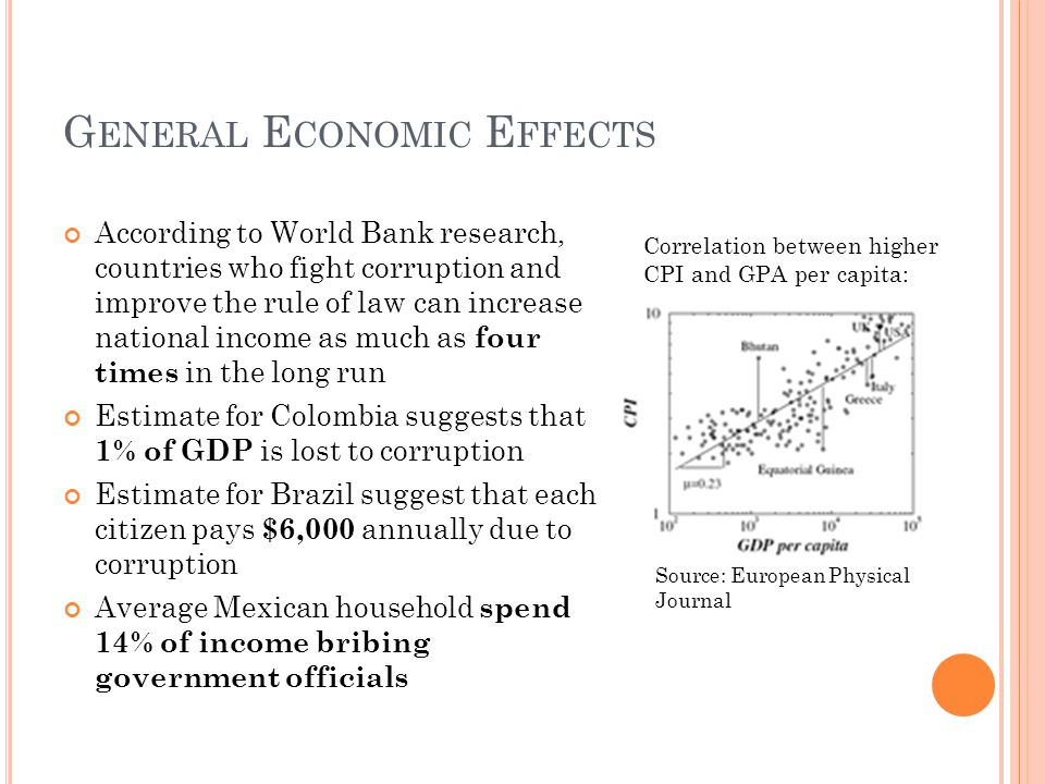 G ENERAL E CONOMIC E FFECTS According to World Bank research, countries who fight corruption and improve the rule of law can increase national income
