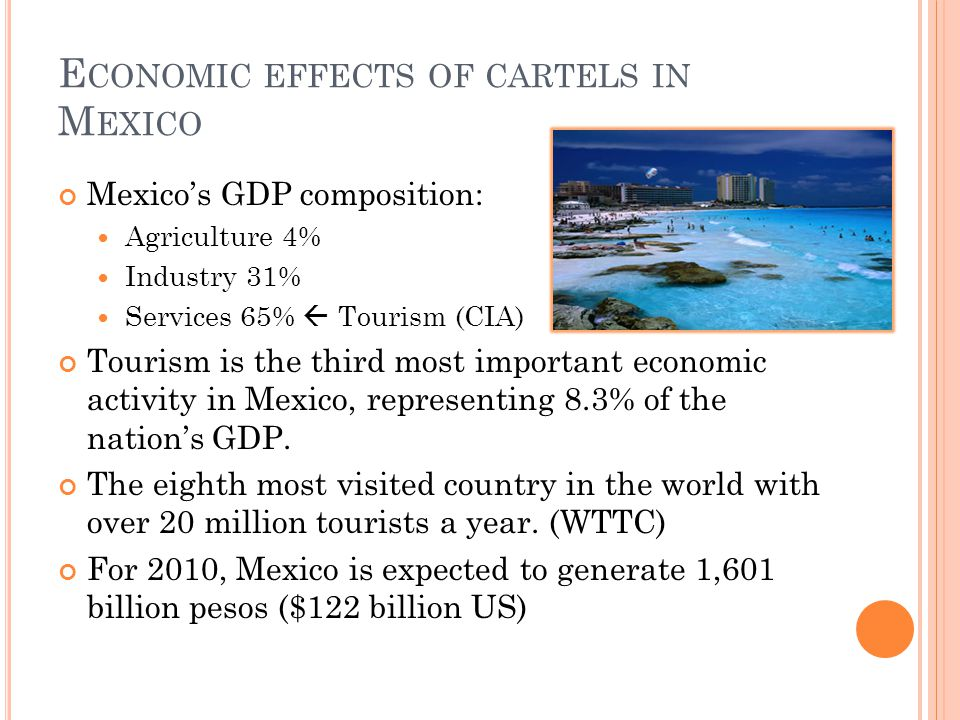 E CONOMIC EFFECTS OF CARTELS IN M EXICO Mexico's GDP composition: Agriculture 4% Industry 31% Services 65%  Tourism (CIA) Tourism is the third most i