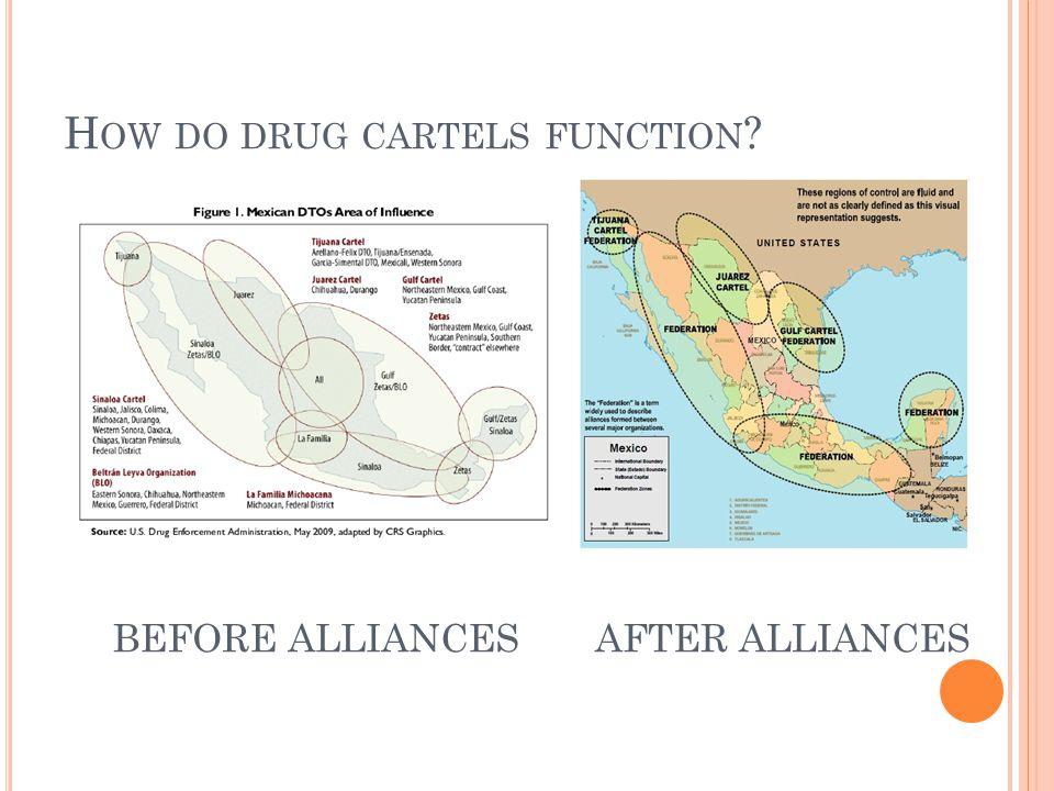 H OW DO DRUG CARTELS FUNCTION ? BEFORE ALLIANCESAFTER ALLIANCES