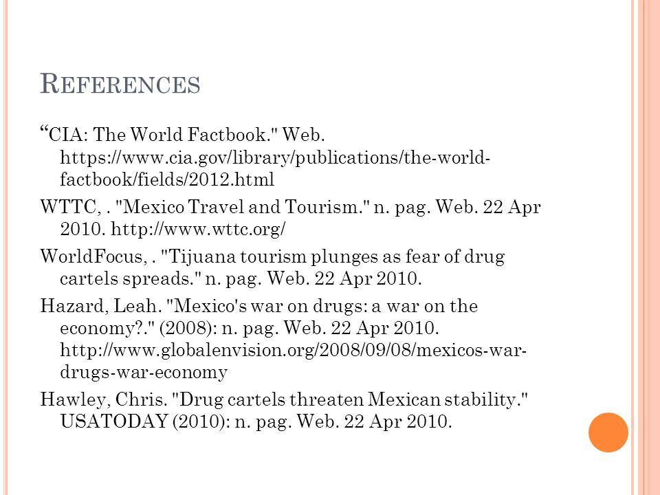 """R EFERENCES """" CIA: The World Factbook."""