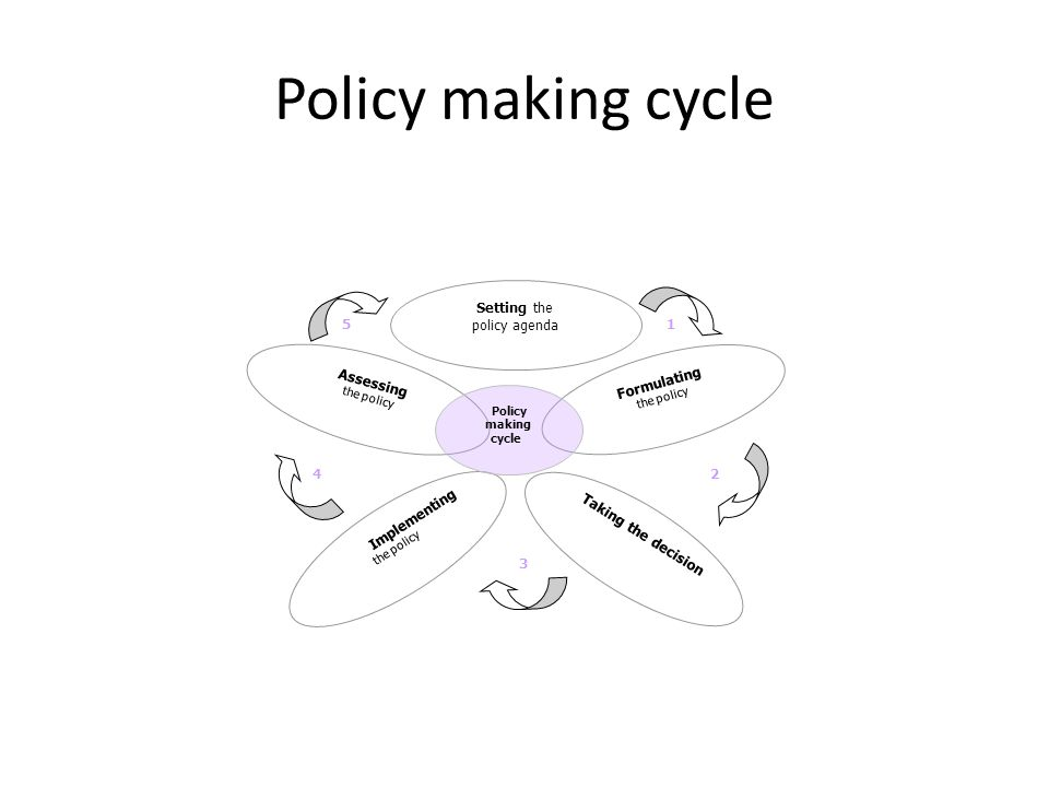 Policy making cycle Implementing the policy Formulating the policy Assessing the policy Taking the decision Setting the policy agenda Policy making cy