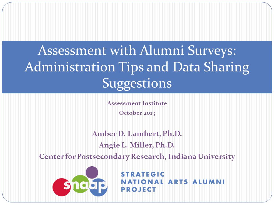Assessment Institute October 2013 Amber D. Lambert, Ph.D. Angie L. Miller, Ph.D. Center for Postsecondary Research, Indiana University Assessment with
