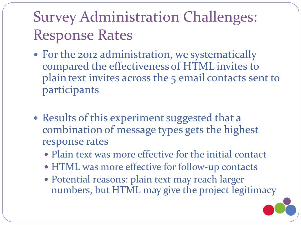 Survey Administration Challenges: Response Rates For the 2012 administration, we systematically compared the effectiveness of HTML invites to plain te