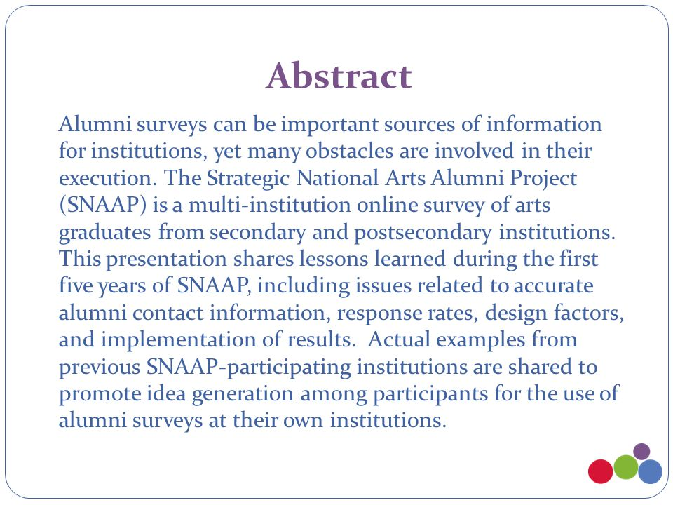 Abstract Alumni surveys can be important sources of information for institutions, yet many obstacles are involved in their execution.