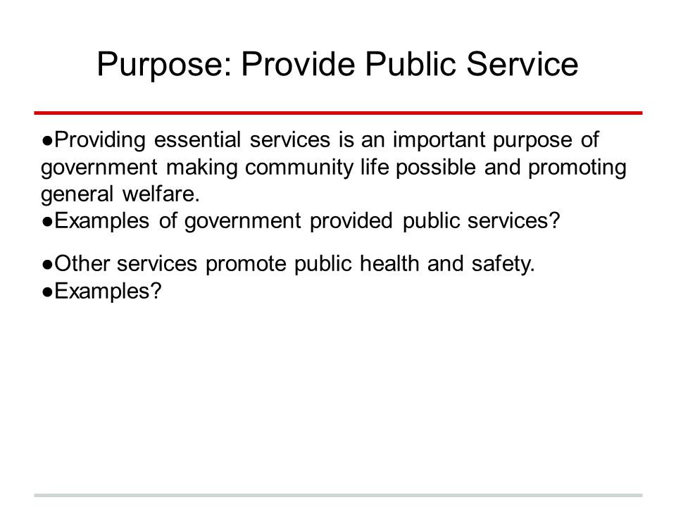Purpose: Provide Public Service ●Providing essential services is an important purpose of government making community life possible and promoting gener