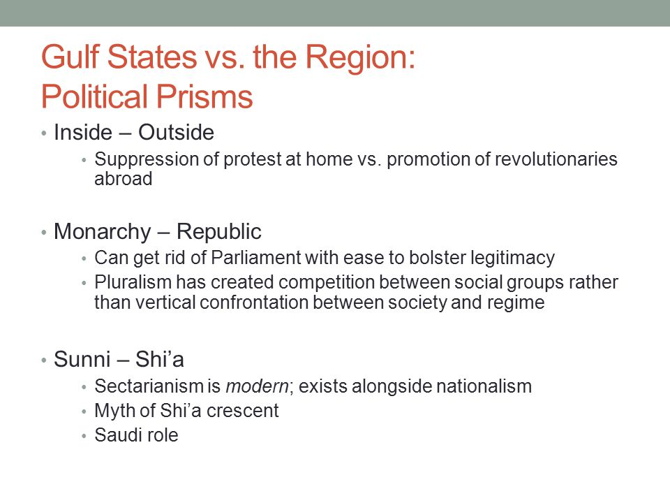 Gulf States vs. the Region: Political Prisms Inside – Outside Suppression of protest at home vs.