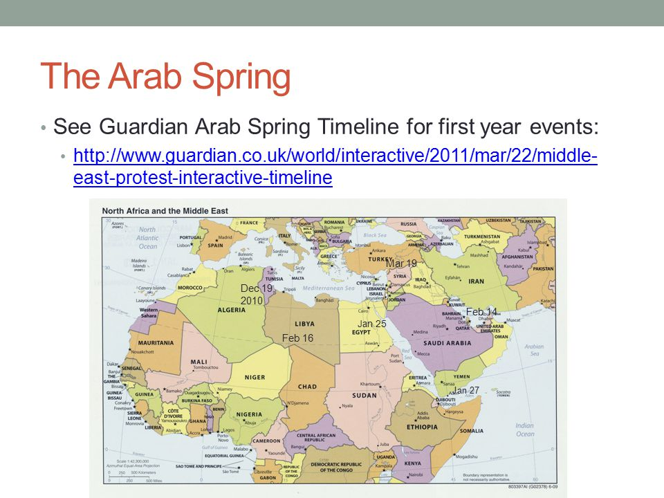 The Arab Spring See Guardian Arab Spring Timeline for first year events: http://www.guardian.co.uk/world/interactive/2011/mar/22/middle- east-protest-interactive-timeline http://www.guardian.co.uk/world/interactive/2011/mar/22/middle- east-protest-interactive-timeline Jan 25 Feb 16 Feb 14 Jan 27 Mar 19 Dec 19, 2010