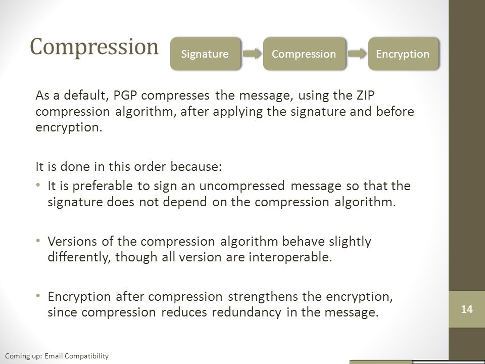 Compression As a default, PGP compresses the message, using the ZIP compression algorithm, after applying the signature and before encryption.