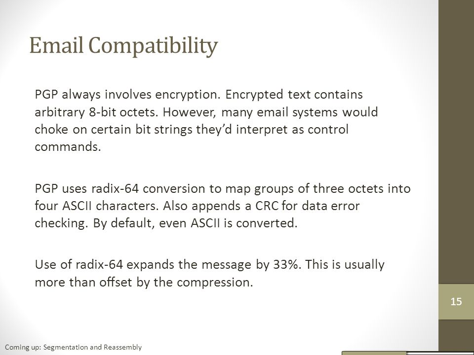 Email Compatibility PGP always involves encryption.