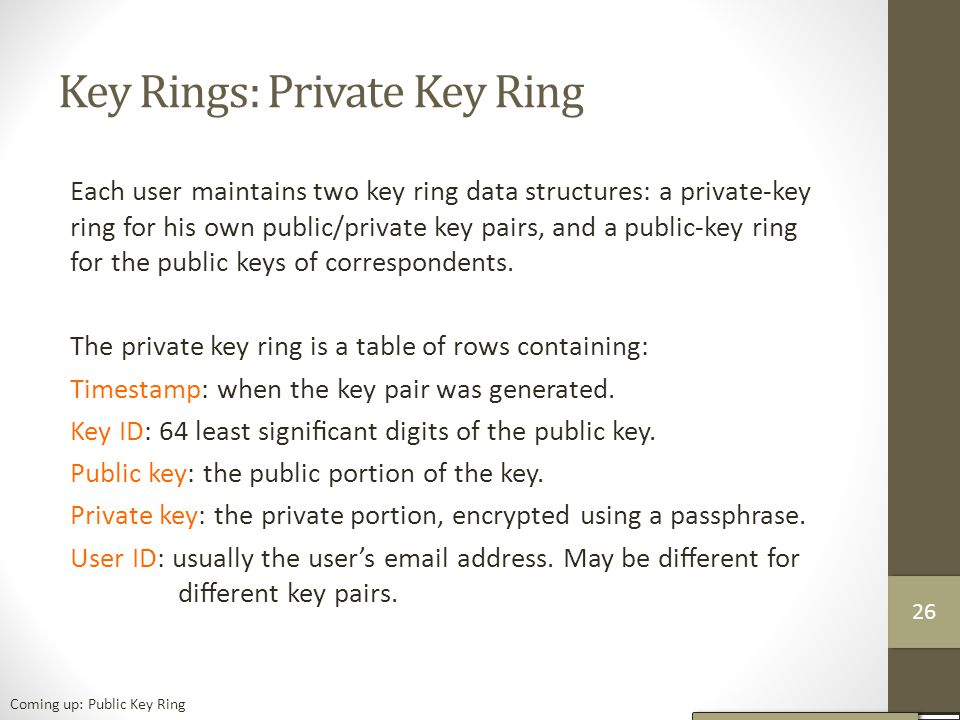 Key Rings: Private Key Ring Each user maintains two key ring data structures: a private-key ring for his own public/private key pairs, and a public-key ring for the public keys of correspondents.