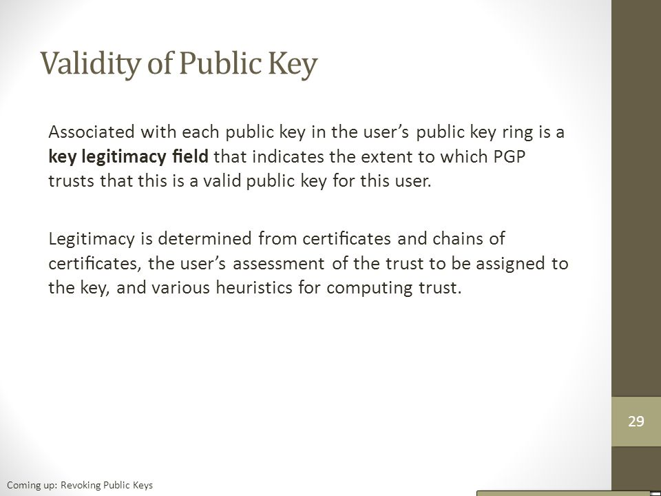 Validity of Public Key Associated with each public key in the user's public key ring is a key legitimacy field that indicates the extent to which PGP trusts that this is a valid public key for this user.