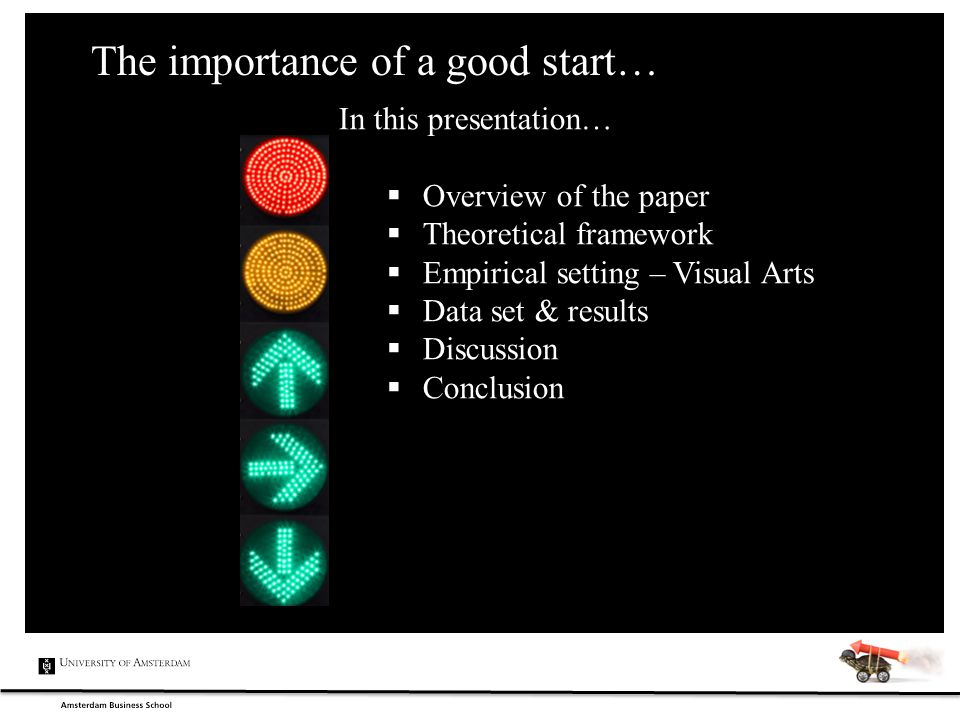 The importance of a good start… In this presentation…  Overview of the paper  Theoretical framework  Empirical setting – Visual Arts  Data set & r