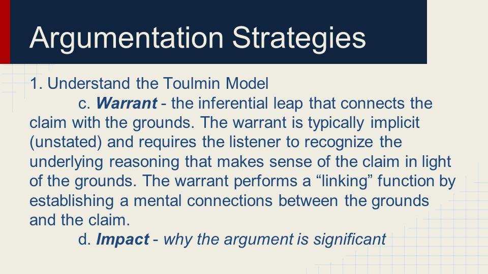 Argumentation Strategies 1. Understand the Toulmin Model c.