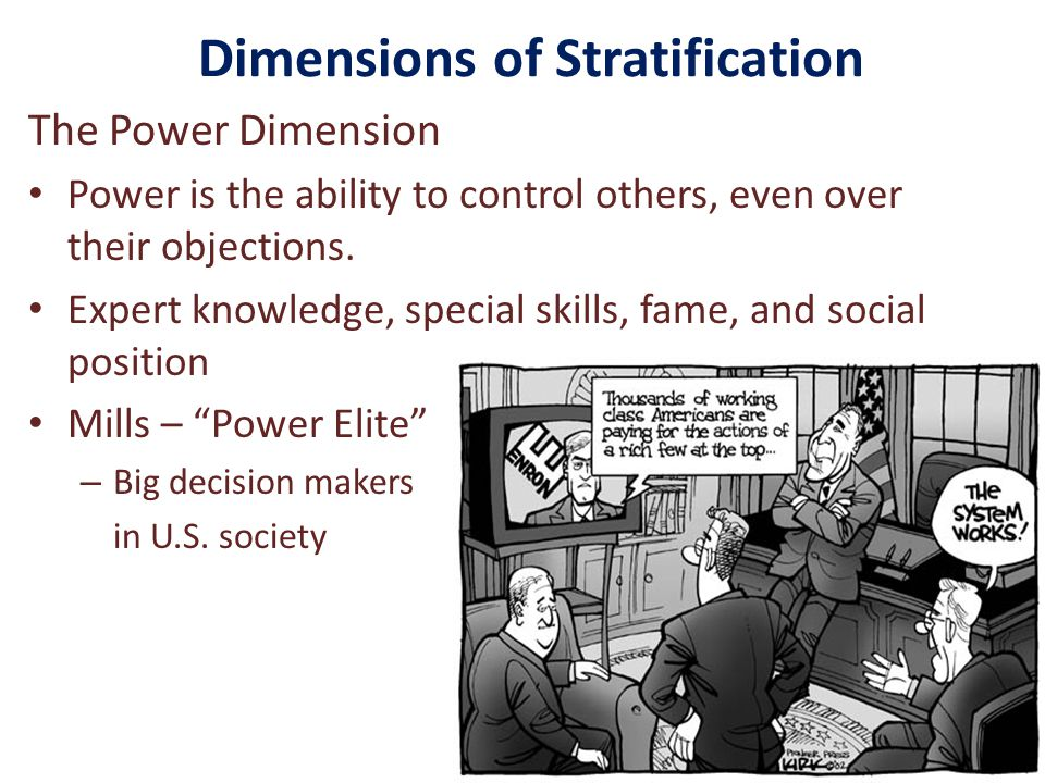 Dimensions of Stratification The Power Dimension Power is the ability to control others, even over their objections.