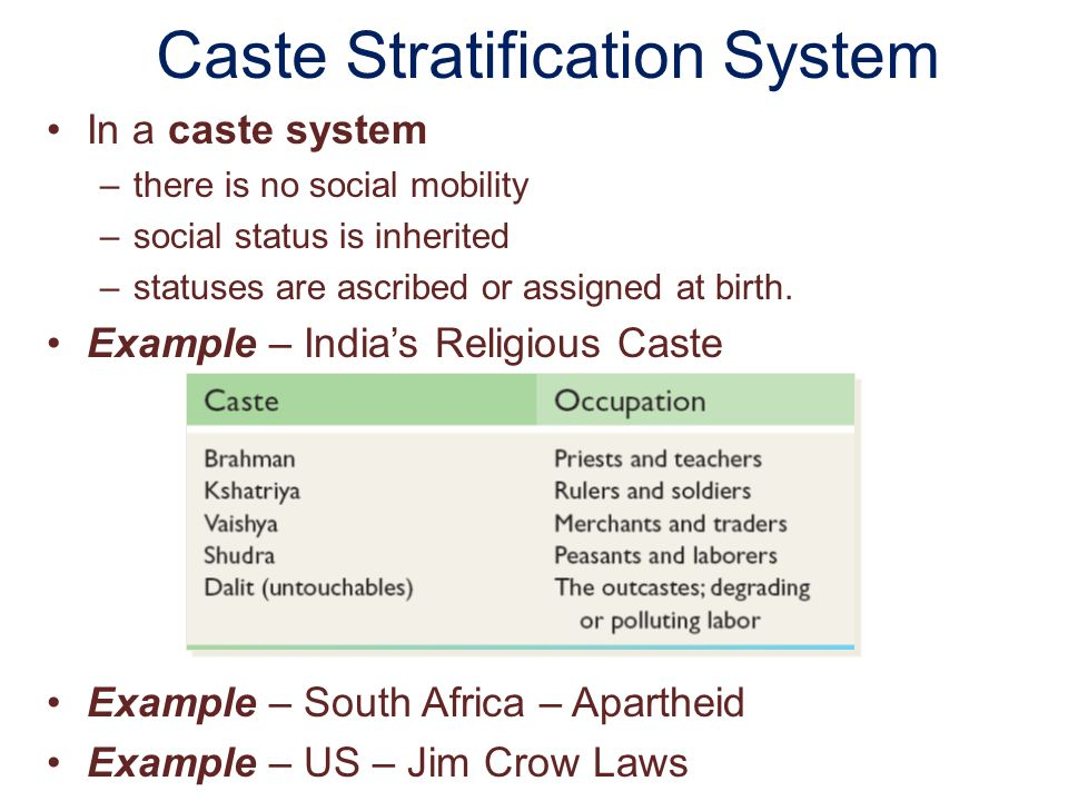 Caste Stratification System In a caste system –there is no social mobility –social status is inherited –statuses are ascribed or assigned at birth. Ex