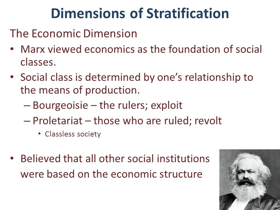 Dimensions of Stratification The Economic Dimension Marx viewed economics as the foundation of social classes. Social class is determined by one's rel