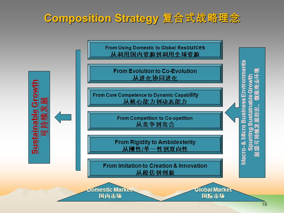 Composition Strategy 复合式战略理念 18 Sustainable Growth 可持续发展 From Evolution to Co-Evolution 从进化协同进化 From Core Competence to Dynamic Capab ility 从核心能力到动态能力 From Competition to Co-opetition 从竞争到竞合 From Rigidity to Ambidexterity 从刚性 / 单一性到双向性 From Imitation to Creation & Innovation 从模仿到创新 Domestic Market 国内市场 Global Market 国际市场 Macro- & Micro Business Environments Spurring Sustainable Growth 鼓励可持续发展的宏、微观商业环境 From Using Domestic to Global Res ources 从利用国内资源到利用全球资源