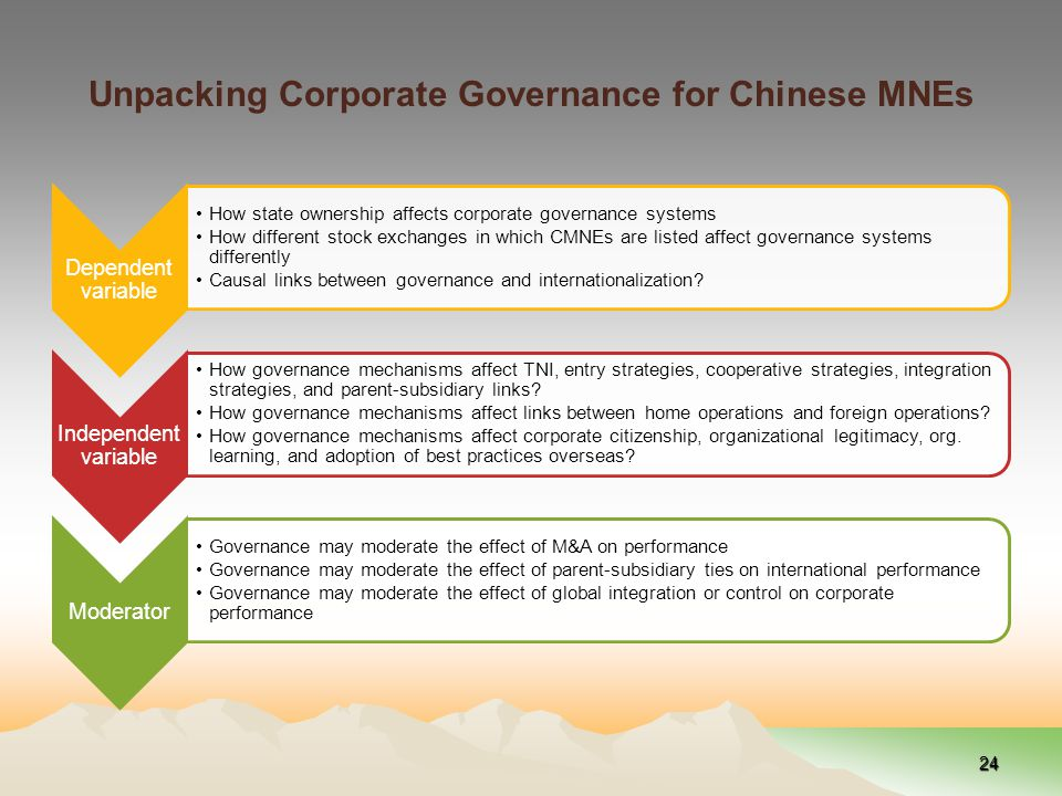 Unpacking Corporate Governance for Chinese MNEs Dependent variable How state ownership affects corporate governance systems How different stock exchanges in which CMNEs are listed affect governance systems differently Causal links between governance and internationalization.