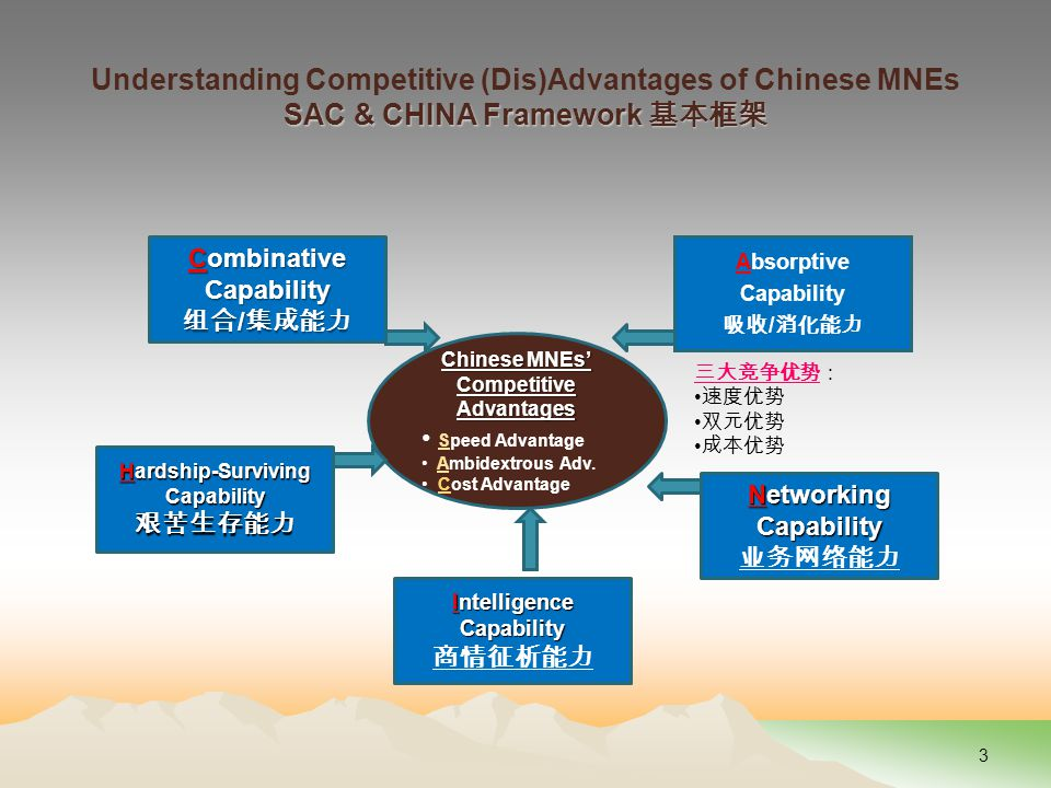 Absorptive Capability 吸收 / 消化能力 Chinese MNEs' Competitive Advantages Speed Advantage Ambidextrous Adv.