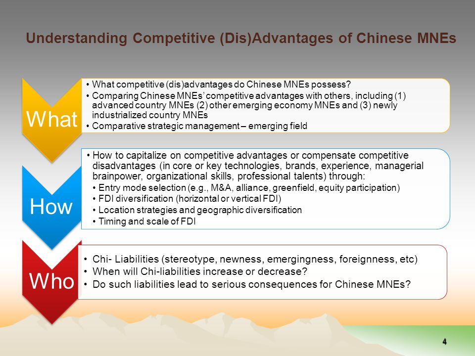 Understanding Competitive (Dis)Advantages of Chinese MNEs What What competitive (dis)advantages do Chinese MNEs possess.