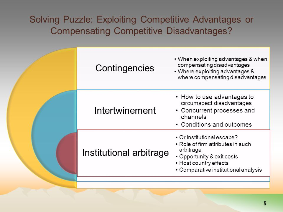 Solving Puzzle: Exploiting Competitive Advantages or Compensating Competitive Disadvantages.