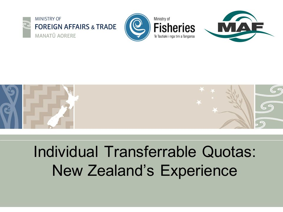 Individual Transferrable Quotas: New Zealand's Experience