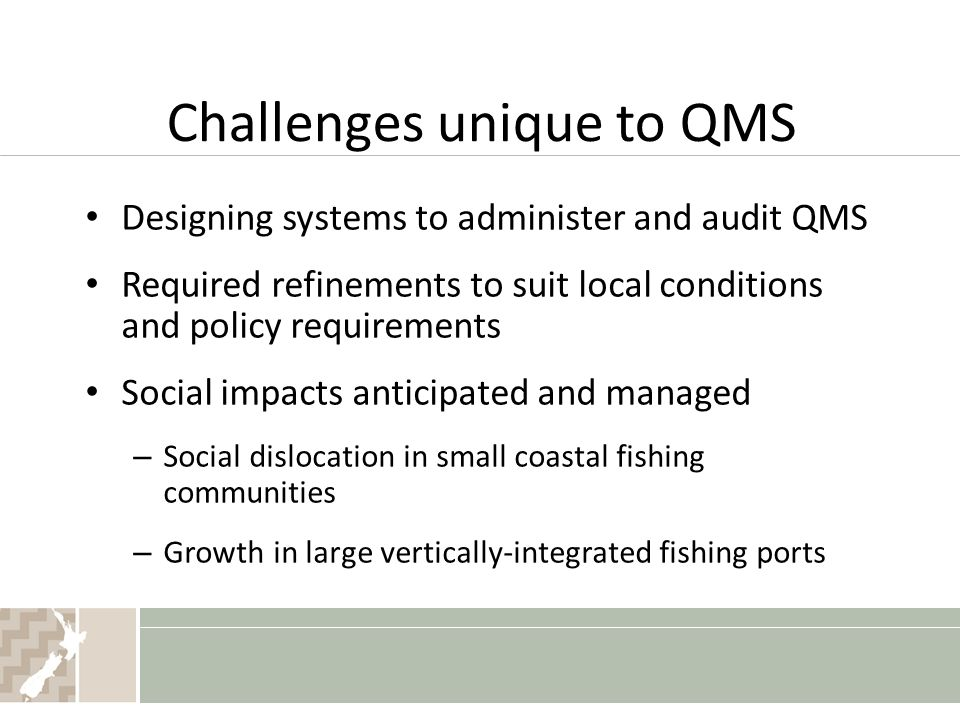 Challenges unique to QMS Designing systems to administer and audit QMS Required refinements to suit local conditions and policy requirements Social im