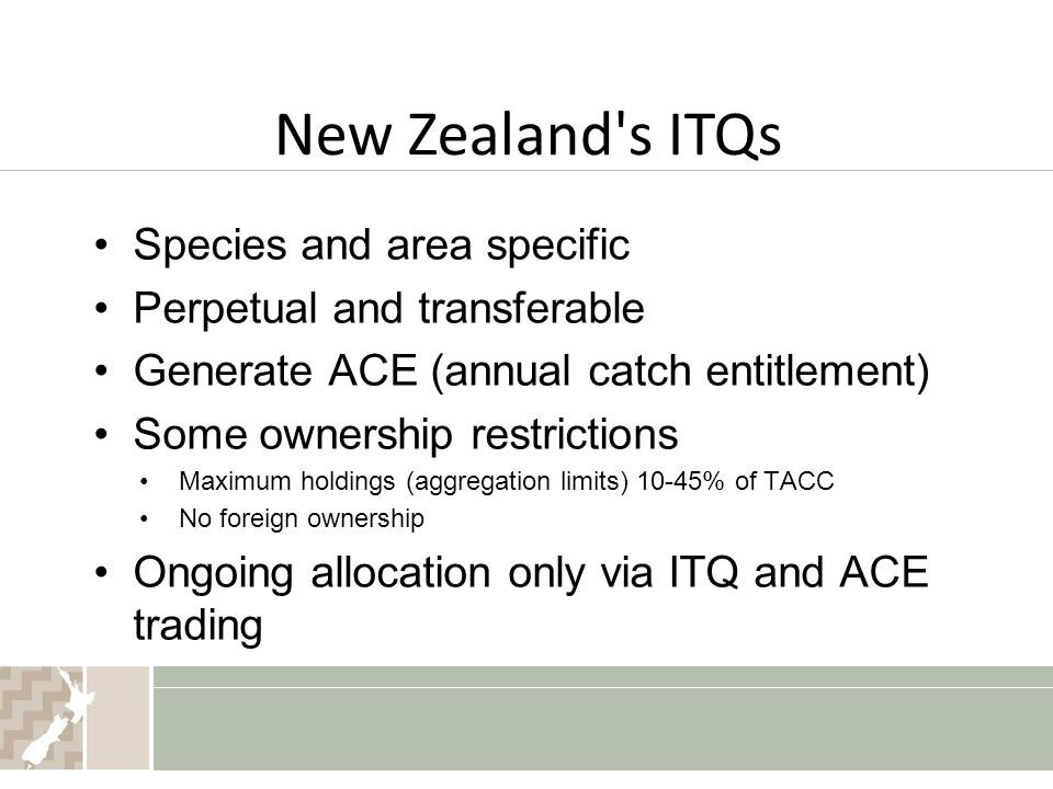 New Zealand s ITQs Species and area specific Perpetual and transferable Generate ACE (annual catch entitlement) Some ownership restrictions Maximum holdings (aggregation limits) 10-45% of TACC No foreign ownership Ongoing allocation only via ITQ and ACE trading