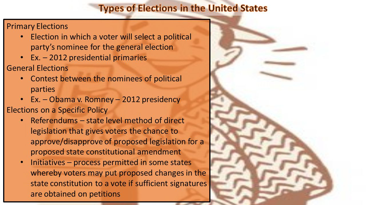 Primary Elections Election in which a voter will select a political party's nominee for the general election Ex.