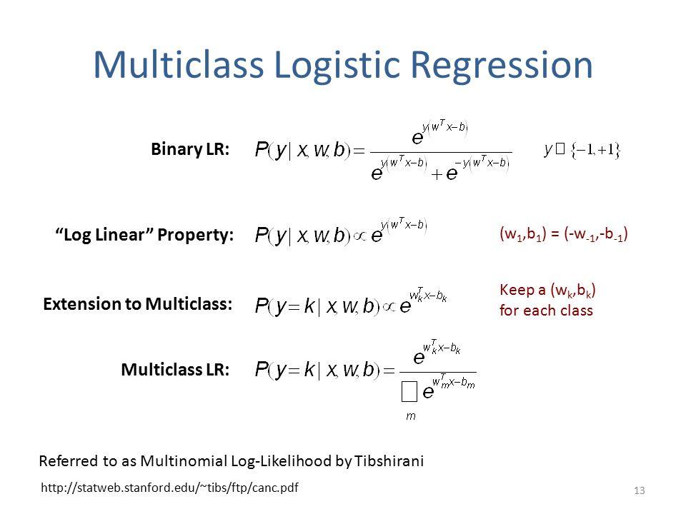 Multiclass Logistic Regression 13 http://statweb.stanford.edu/~tibs/ftp/canc.pdf Referred to as Multinomial Log-Likelihood by Tibshirani Binary LR: Log Linear Property: Extension to Multiclass: Keep a (w k,b k ) for each class (w 1,b 1 ) = (-w -1,-b -1 ) Multiclass LR: