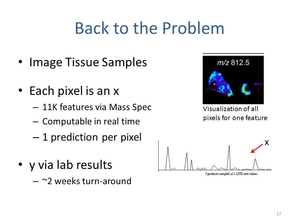 Back to the Problem Image Tissue Samples Each pixel is an x – 11K features via Mass Spec – Computable in real time – 1 prediction per pixel y via lab results – ~2 weeks turn-around 17 Visualization of all pixels for one feature x