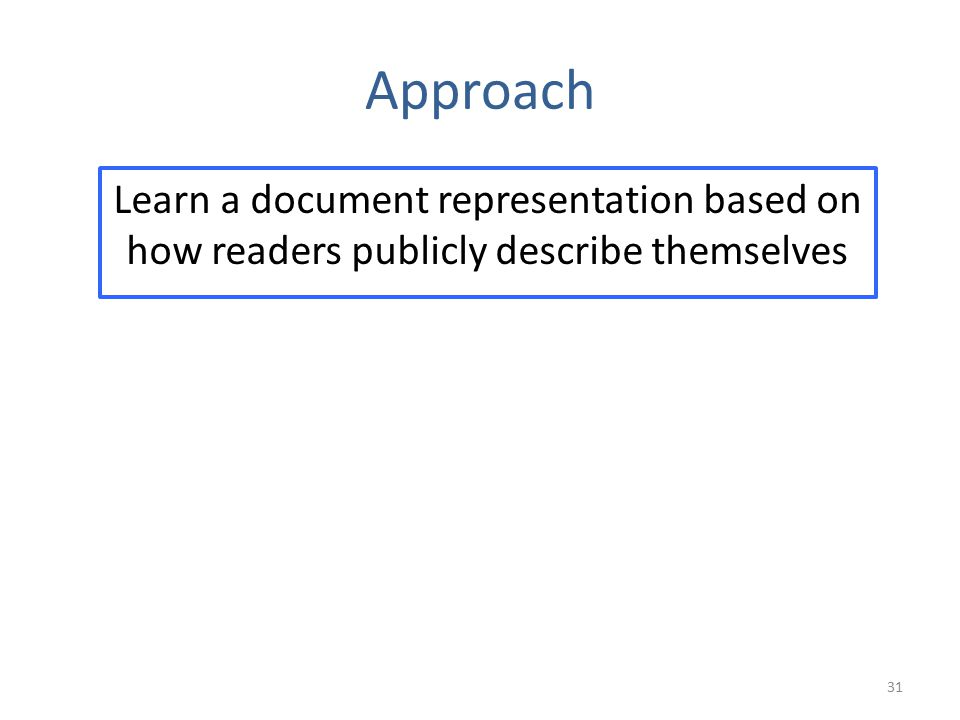 Approach Learn a document representation based on how readers publicly describe themselves 31
