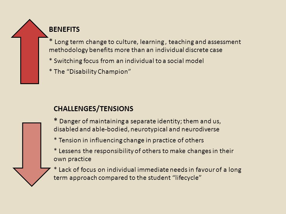 BENEFITS * Long term change to culture, learning, teaching and assessment methodology benefits more than an individual discrete case * Switching focus