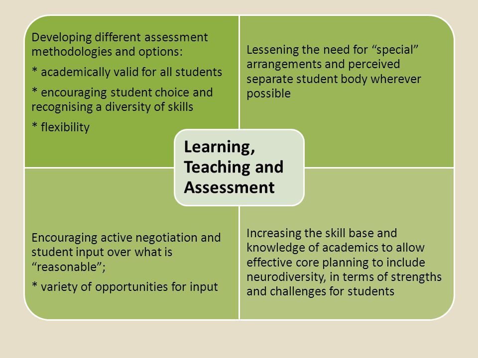 Developing different assessment methodologies and options: * academically valid for all students * encouraging student choice and recognising a diversity of skills * flexibility Lessening the need for special arrangements and perceived separate student body wherever possible Encouraging active negotiation and student input over what is reasonable ; * variety of opportunities for input Increasing the skill base and knowledge of academics to allow effective core planning to include neurodiversity, in terms of strengths and challenges for students Learning, Teaching and Assessment