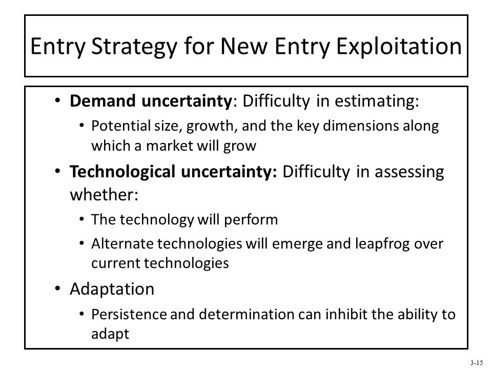 3-15 Entry Strategy for New Entry Exploitation Demand uncertainty: Difficulty in estimating: Potential size, growth, and the key dimensions along whic