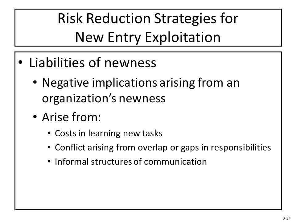 3-24 Risk Reduction Strategies for New Entry Exploitation Liabilities of newness Negative implications arising from an organization's newness Arise fr